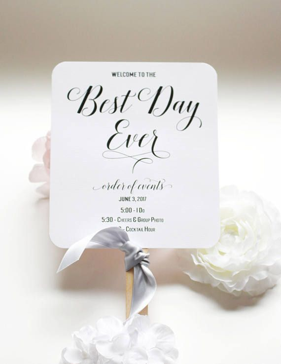 The Best Day Ever! Wedding Program Fan SAMPLE Need a fan-tastic - wedding agenda sample