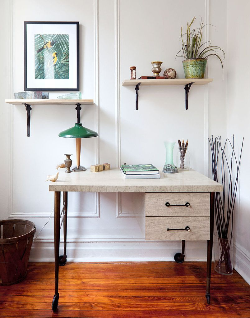 A vintage bar cart was converted into a desk. Photo: Trevor Tondro for The New York Times