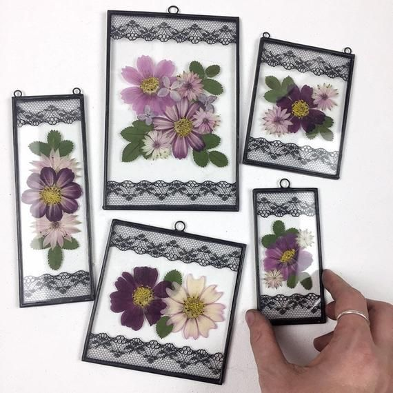 Herbarium Wandbehang – Satz gerahmte gepresste Blumen; gerahmtes Herbarium; gepresster Blumenrahmen; rustikale Wohnkultur