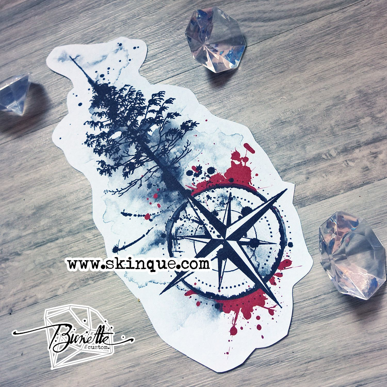 Trash polka pine tree compass forest tattoo design ...