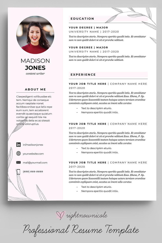 Blush pink floral resume template feminine resume design