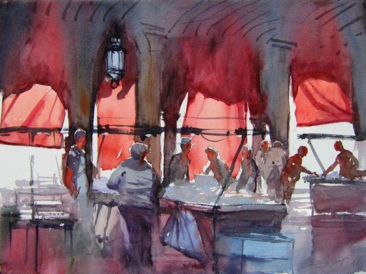 Venice ,market, pescheria (2016) Watercolours by Goran Žigolić   Artfinder