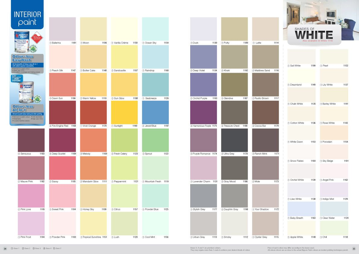 Interior paint color chart 5 gray interior paint whit wall paint colors nippon paint for Nippon paint colour for living room