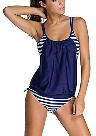 Mujer Tankini Stripes 2Pcs Bañadores Tallas Grandes Comfort Beachwear Con Pantalones Cortos T8y25a5te
