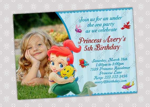 baby ariel little mermaid birthday party by creativepartypixels, Birthday invitations