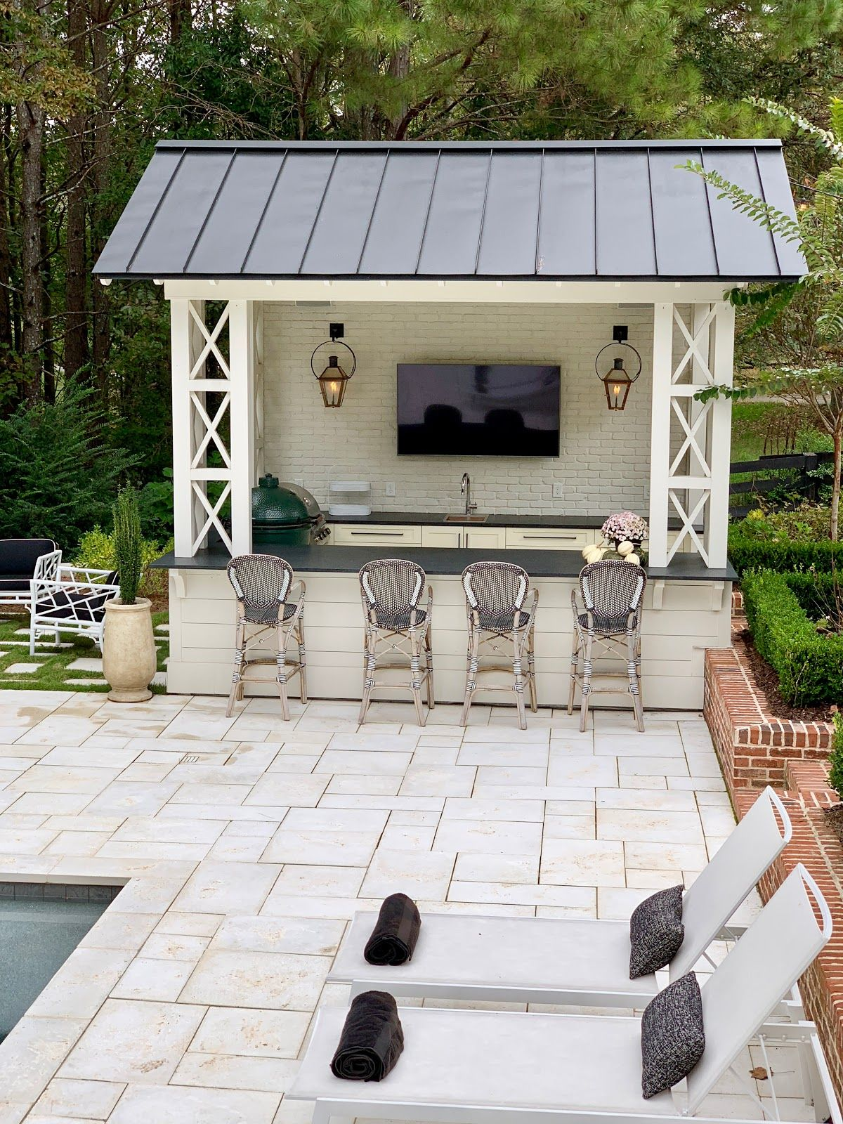 A Colorful Home Tour Pool House Designs Backyard Patio Designs Pool Houses Backyard ideas with guest house