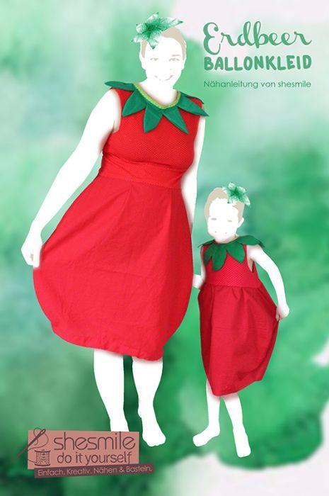 Kostüm - Erdbeere Ballonkleid (Nähanleitung für alle Größen von ...