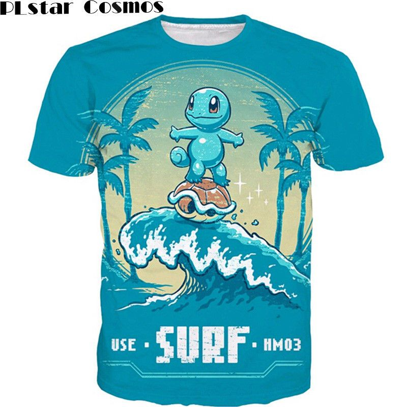 411faa59e84b NEW Pokemon T-Shirt Squirtle Surfing Summer Vacation Funny Tees for Unisex  | eBay