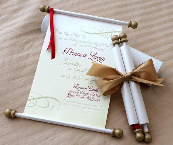 Princess Scroll Invitation by PapercutInvites on Etsy, $7.50