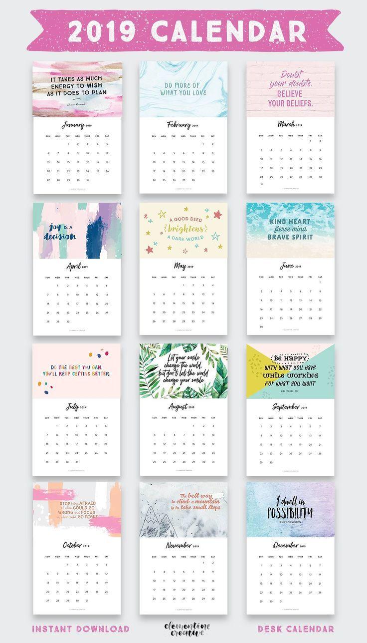 Printable 2019 Inspirational Quotes Calendar
