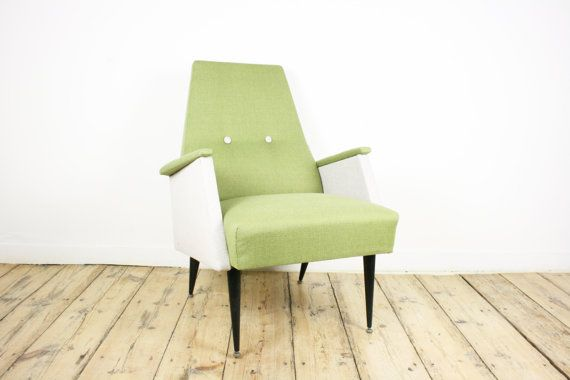Mid Century Armchair Reupholstered Upcycled Furniture Green Easy Chair White Accent Chair Vintage Lounge Ch Vintage Lounge Chair Retro Chair White Accent Chair