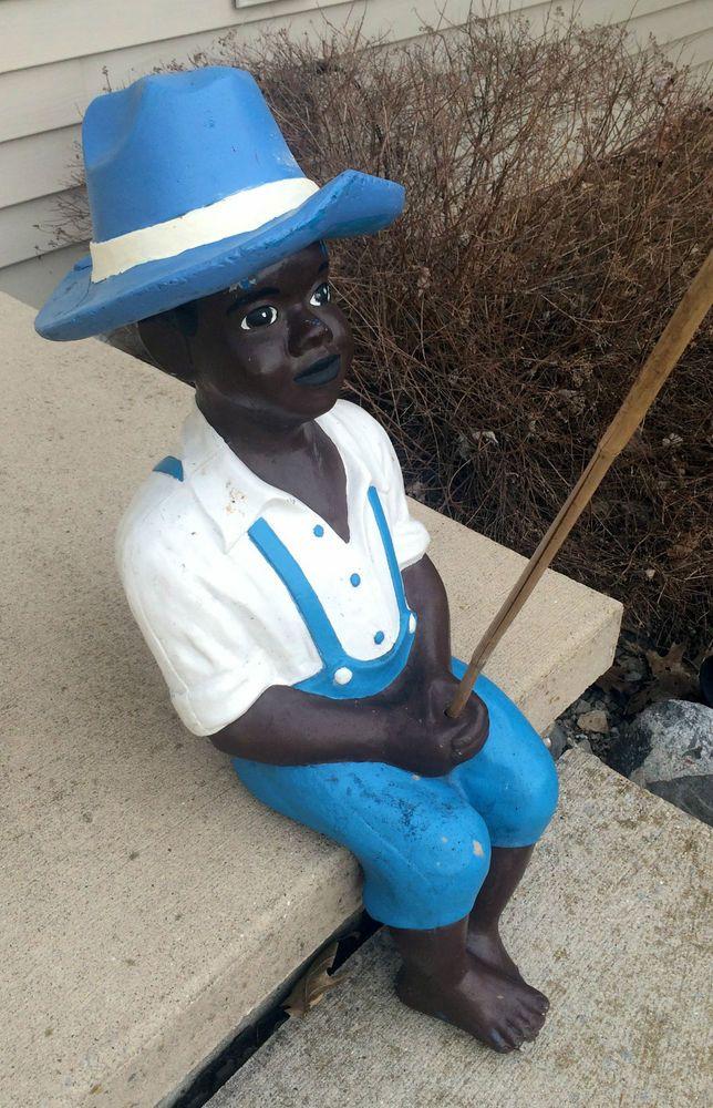 Vintage 32 Black Americana Pond Fishing Boy Lawn Jockey Concrete Garden Statue