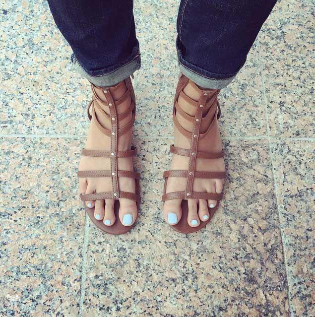 Zoya Blu Nail Polish In Brown Gladiator Sandals