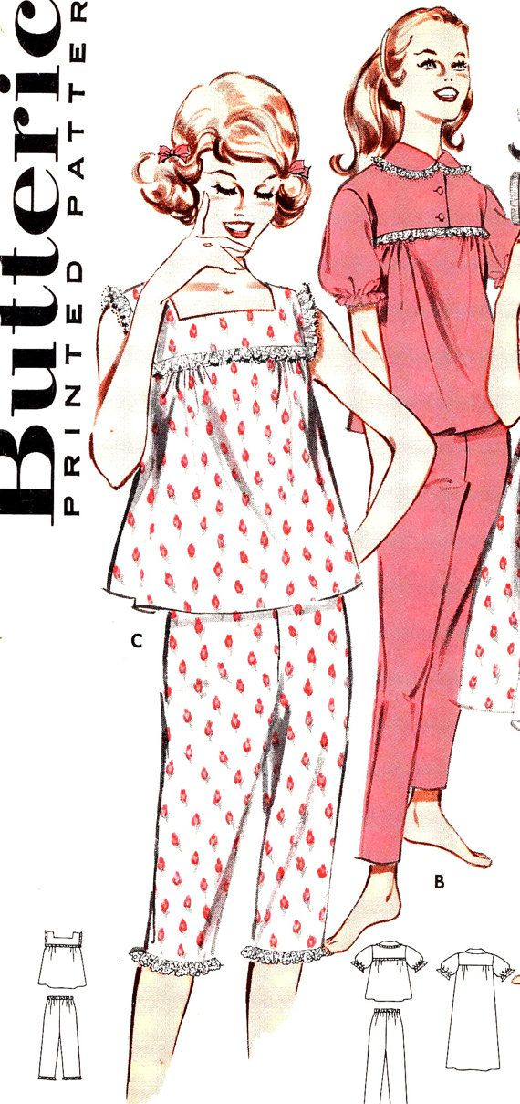 Womens babydoll nightgowns pajamas lingerie vintage sewing pattern ... a3461be22