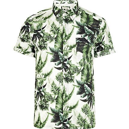 c3036a4224c034 GREEN LEAF PRINT SHORT SLEEVE SHIRT - River Island price  £28.00 ...