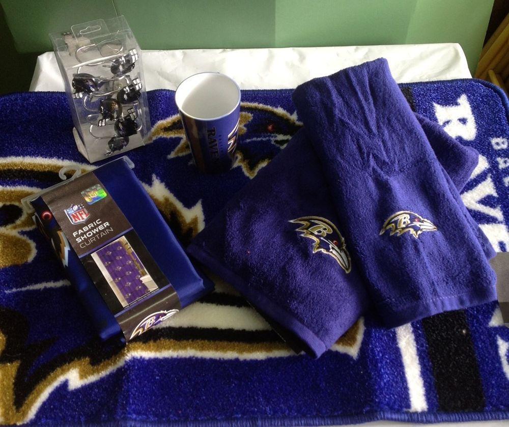 Baltimore Ravens Bath 17 Piece Set Rug Shower Curtain Hooks Towel Cup NEW BaltimoreRavensBathroom