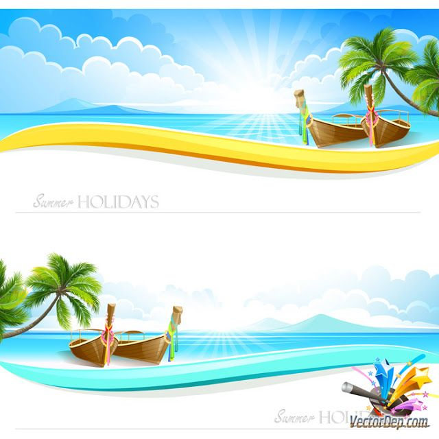 Vector Banner Biển - Vector Free Download | Beach illustrations ...