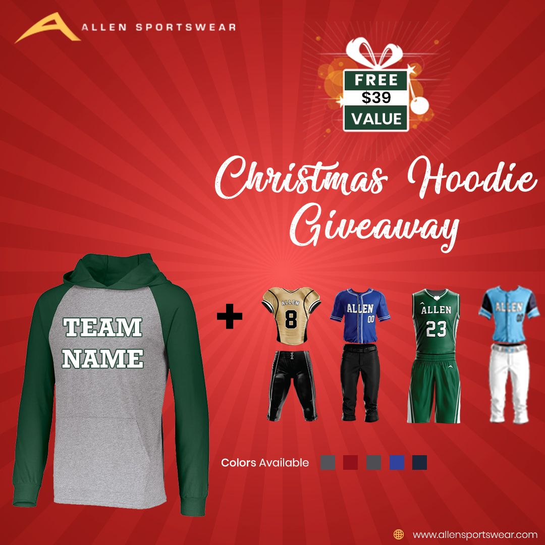 Christmas week special! Get cozy with a Free Custom Team Hoodie for every Purchase of a Pro Uniform. Design and Order Your Uniforms Online and enter code CHRISTMASHOODIE when you check out for your free