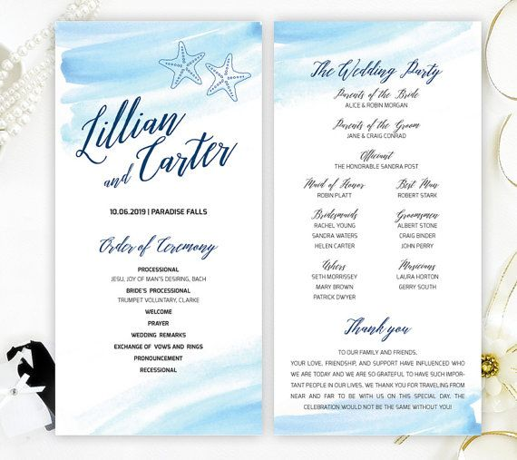 Beach destination wedding programs printed on shimmer cardstock