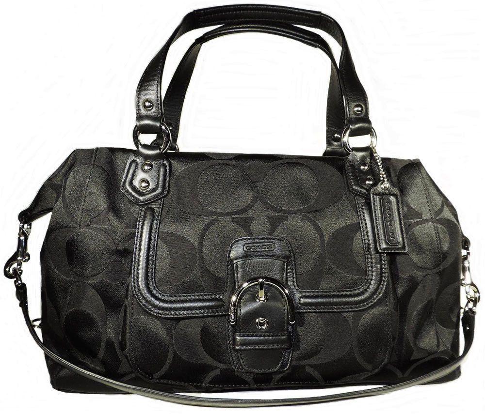 Brand New Coach Campbell Black Signature Large Satchel Handbag F25292 | C  $168.00