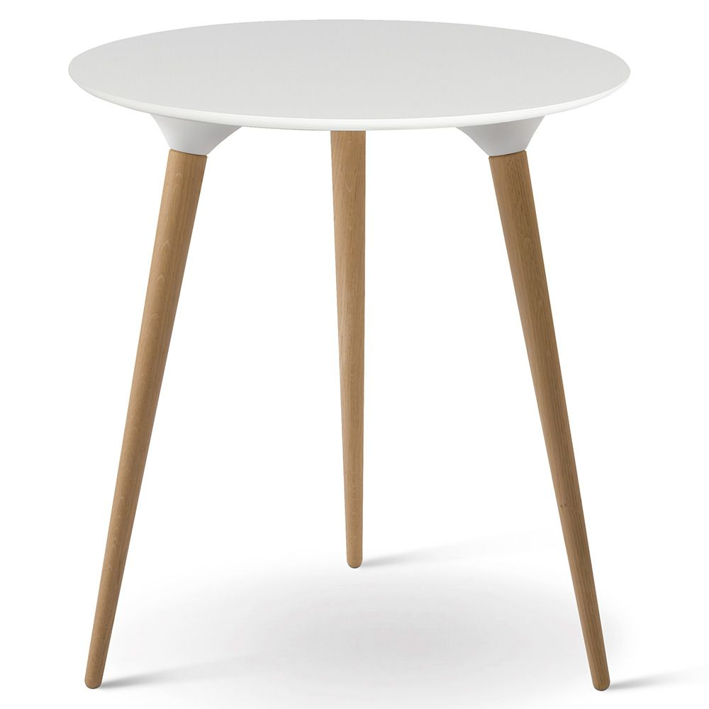 Icicle Round Side Table White Laminate White Side Tables
