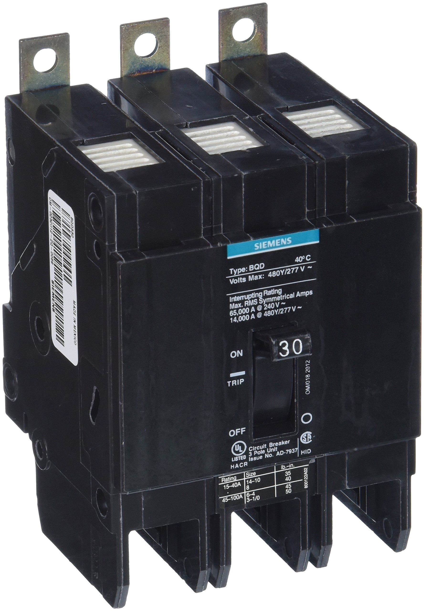 Siemens Bqd330 30 Amp Three Pole 480y 277v Ac 14kaic Bolt In Breaker Learn More By Visiting The Image Link This Is An A Pole Construction Siemens Breakers