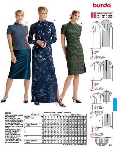 Patron de robes - Burda 8438 | Patrons | Pinterest