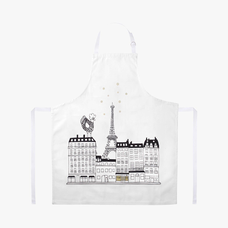 Tablier design avec la célèbre poule de la Cocotte Paris qui se promène sur les…