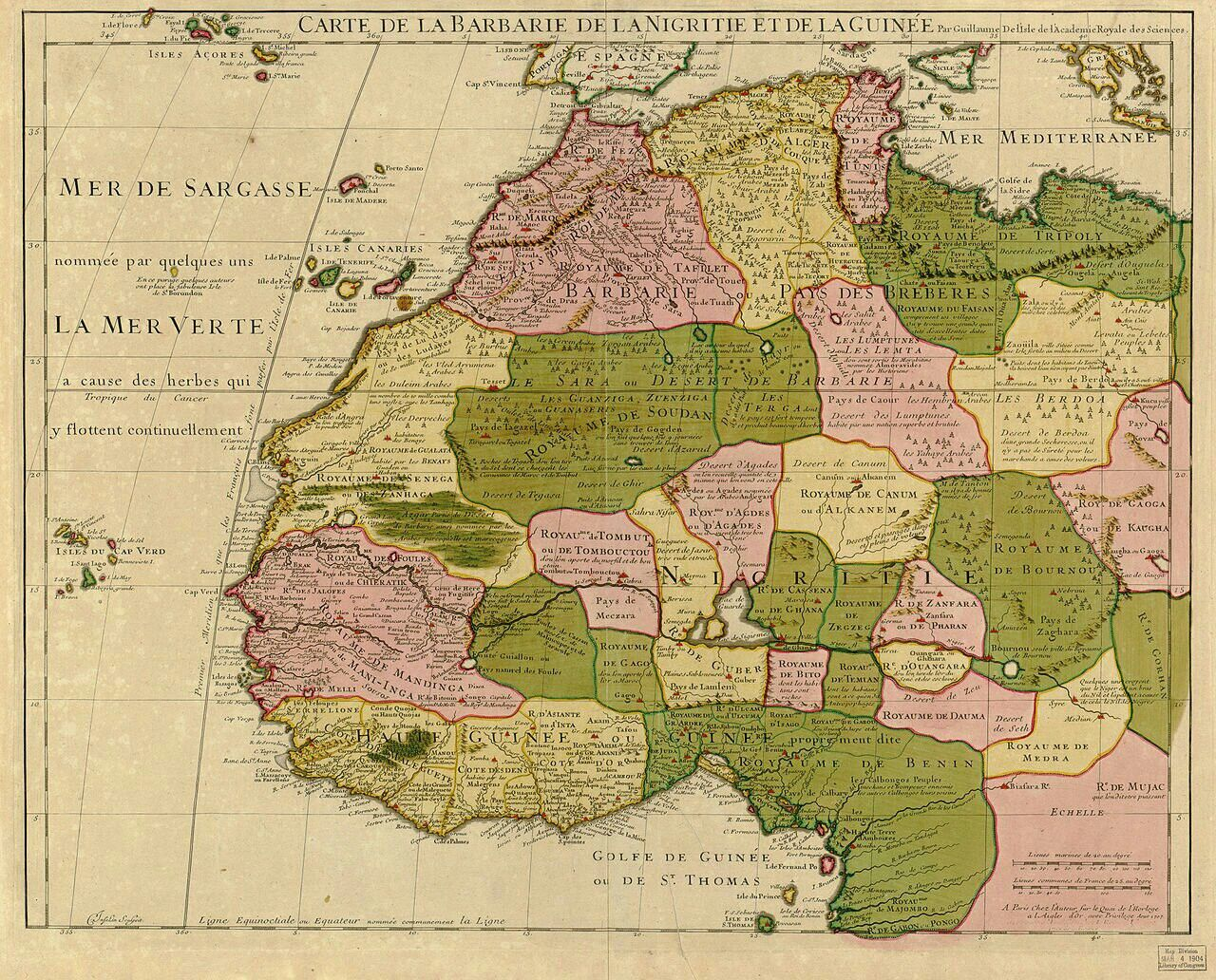 Greater Maghreb 1707 Map Of Northwest Africa By Guillaume Delisle Including The Maghreb Africa Map Ancient Maps Old Map