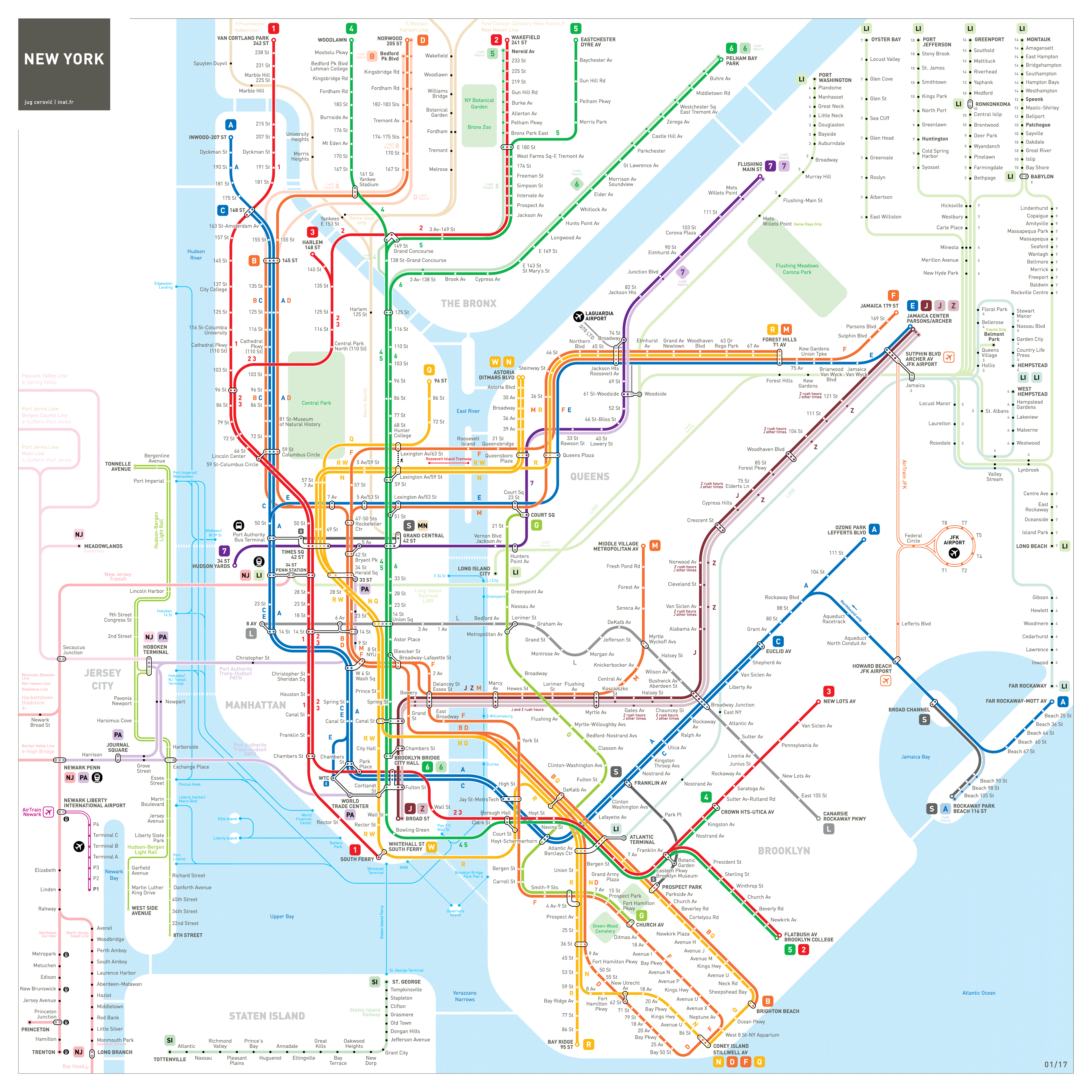 Newark New Jersey Subway Map.Comprehensive Map Of The Entire New York Newark Jersey City