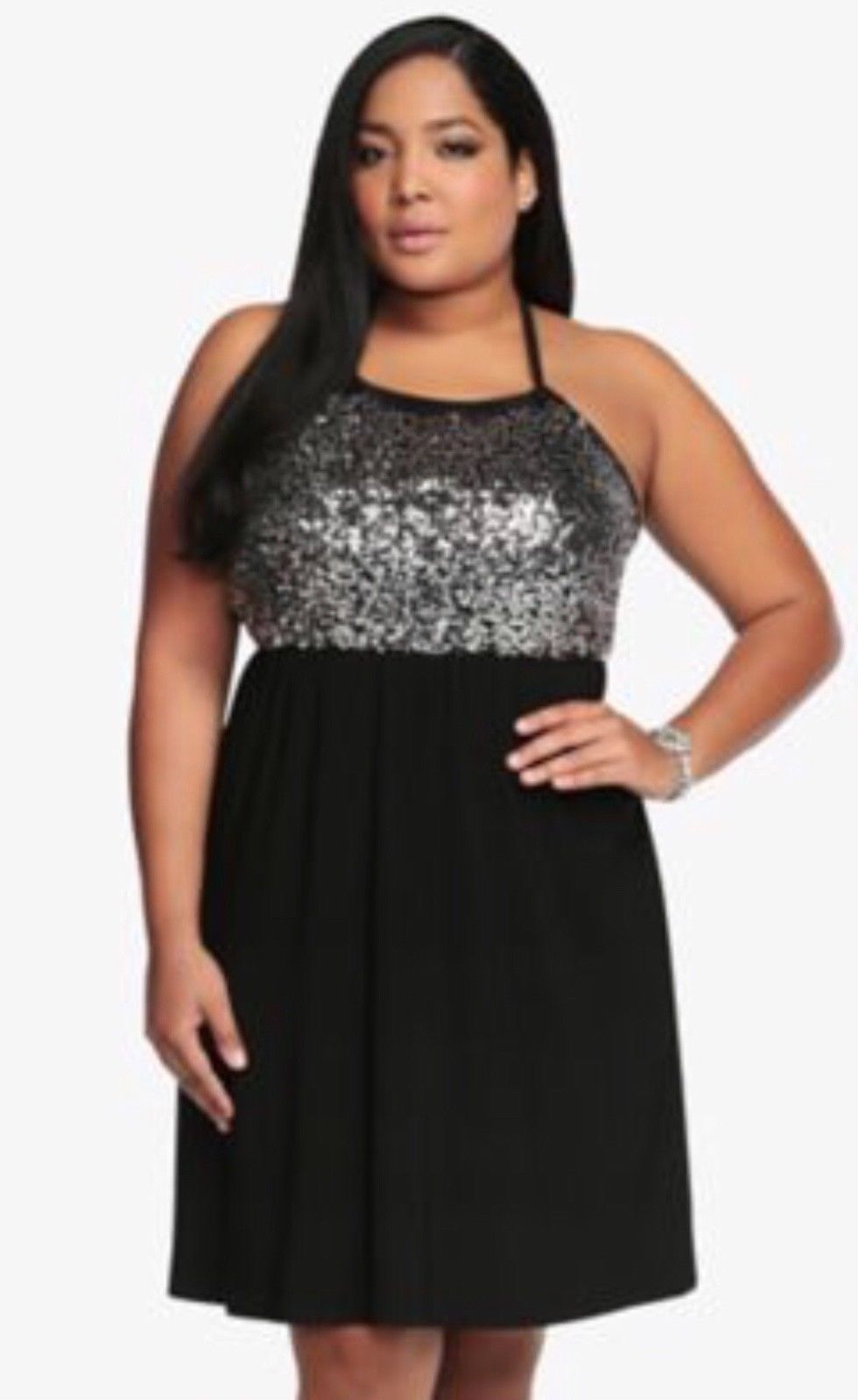 cool awesome torrid womens dress black silver sequins halter