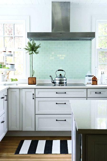 Mint Glass Backsplash Suits This Modern Kitchen Source BHG Amazing Bhg Kitchen Design
