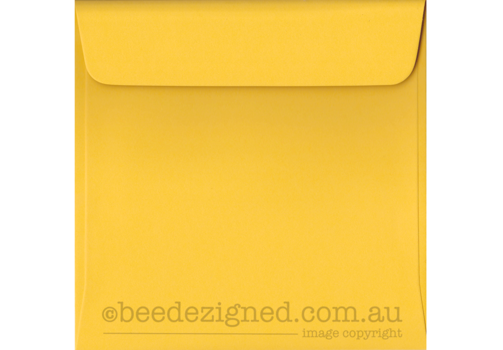 160mm Square Envelopes Spectrum Bright Yellow 120gsm : Wallet Peel Seal | Buy Speciality Paper & Envelopes Online :: beedezigned™ Australia