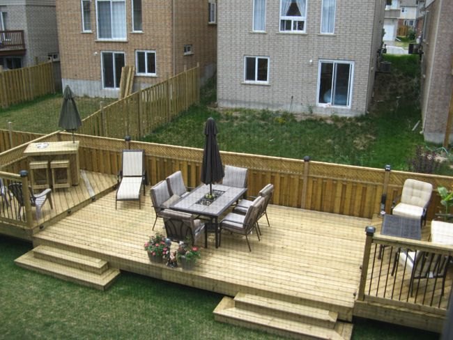 Flat decks and small back yard patio designs with deck for Deck designs for small backyards