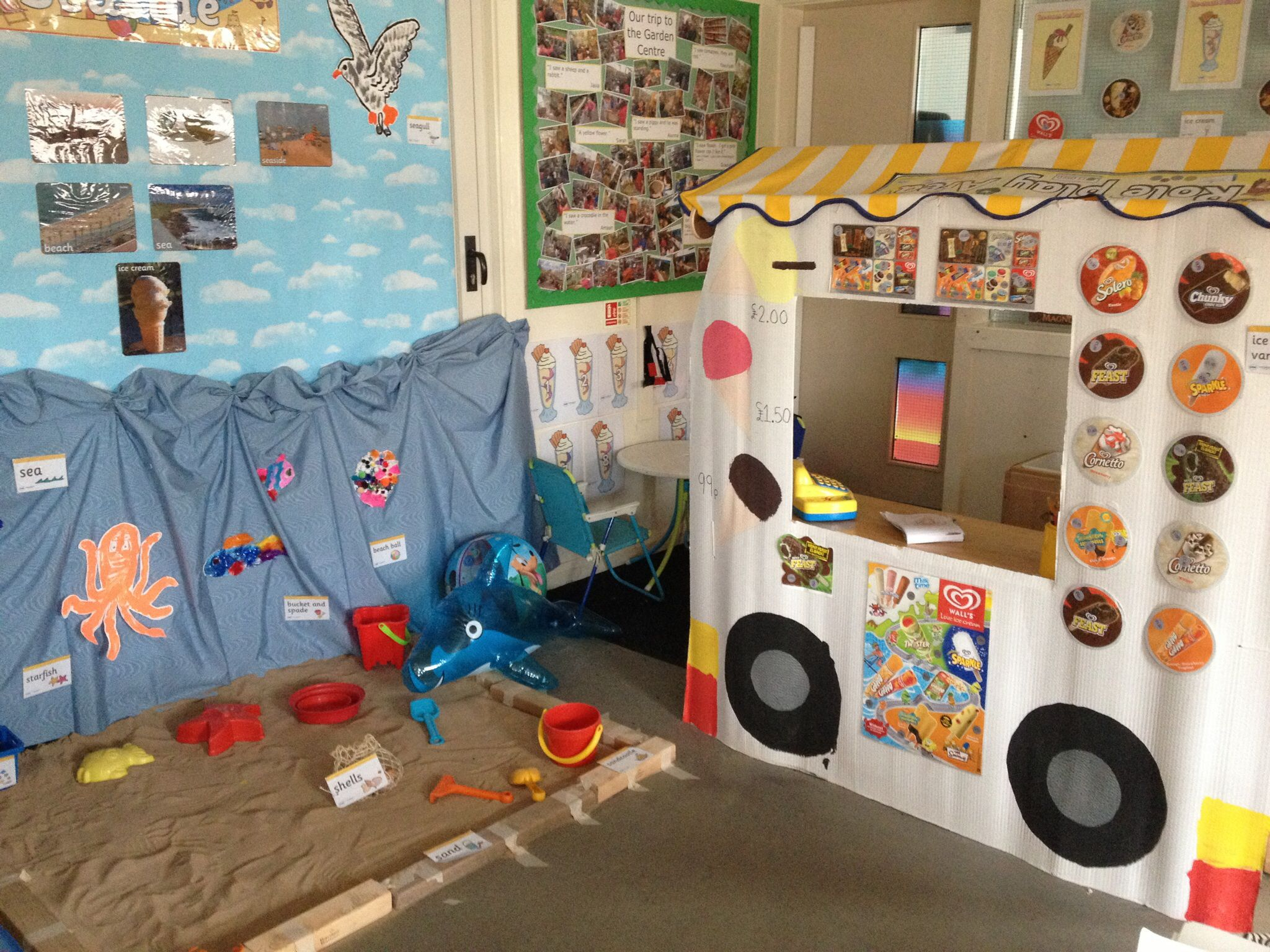 ice cream van and seaside role play area interest areas