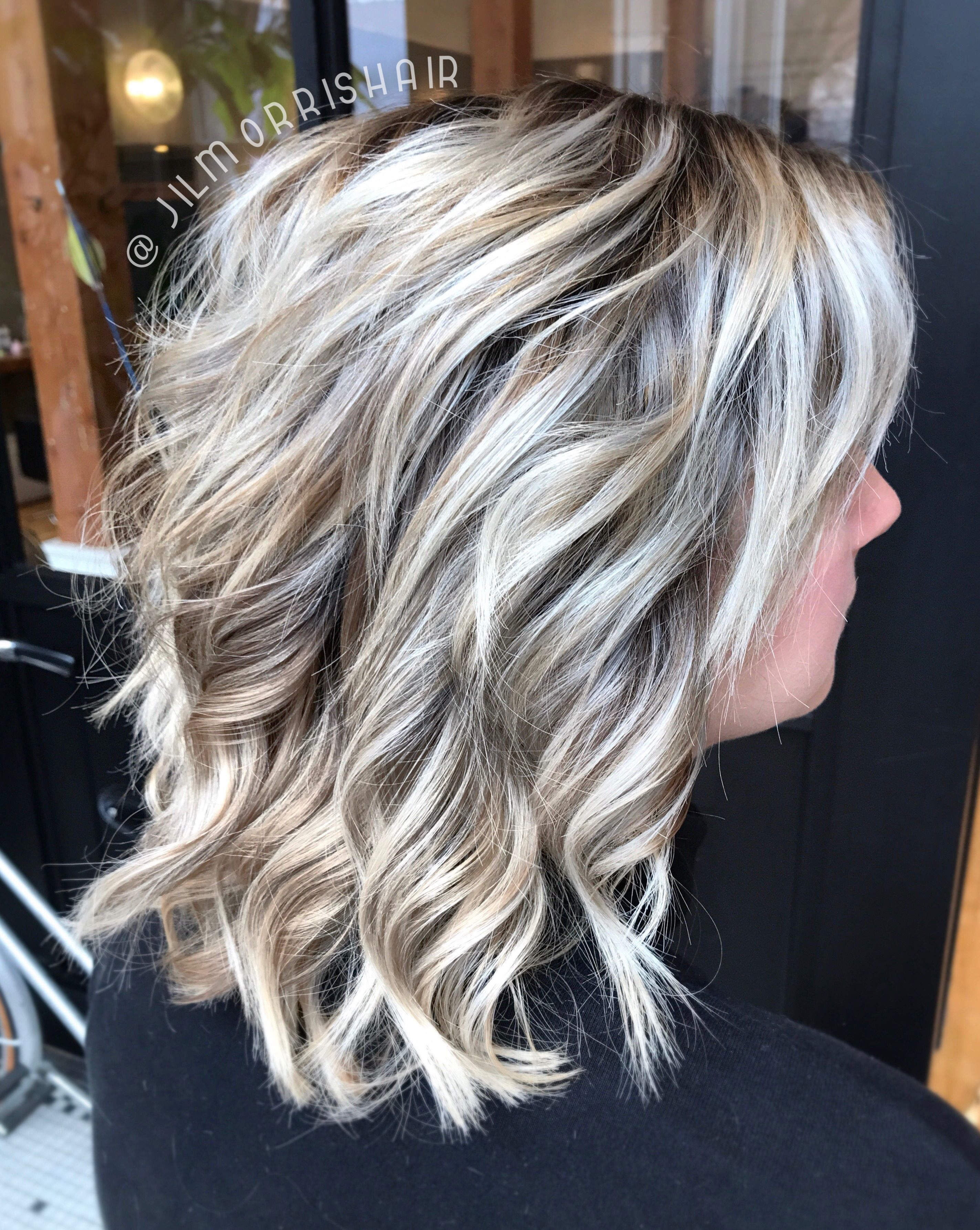 Icy White Balayage Blonde Highlights With An Ashy Shadow Root