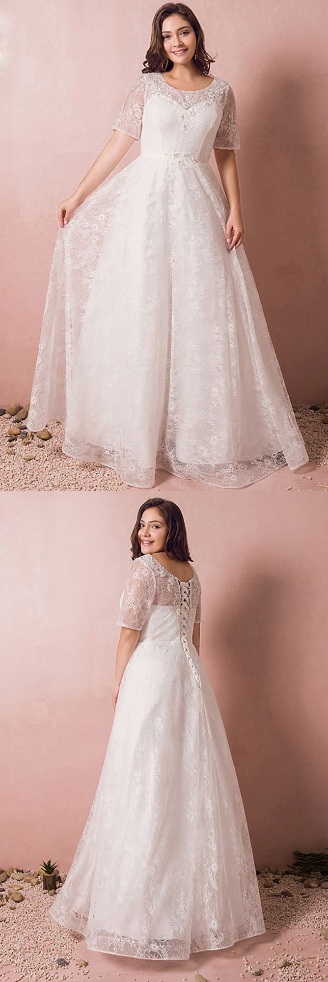 Modest lace short sleeve plus size wedding dress with beading for