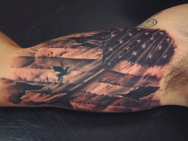 American Flag Inner Bicep Tattoo James Tattoos Bicep Tattoo