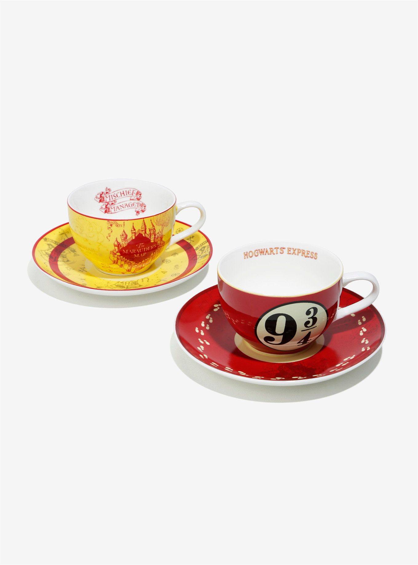 """Harry and co. might have been too busy fighting the Dark Lord to stop for tea. Make sure you carve out some time for yourself! This tea cup set features two tea cups and matching saucers with a Marauder's Map and Platform 9 3/4 theme, so you and your bestie can talk over a nice cuppa.<br><div><ul><li style=""""list-style-position: inside !important; list-style-type: disc !important"""">6.7 oz.</li><li style=""""list-sty..."""