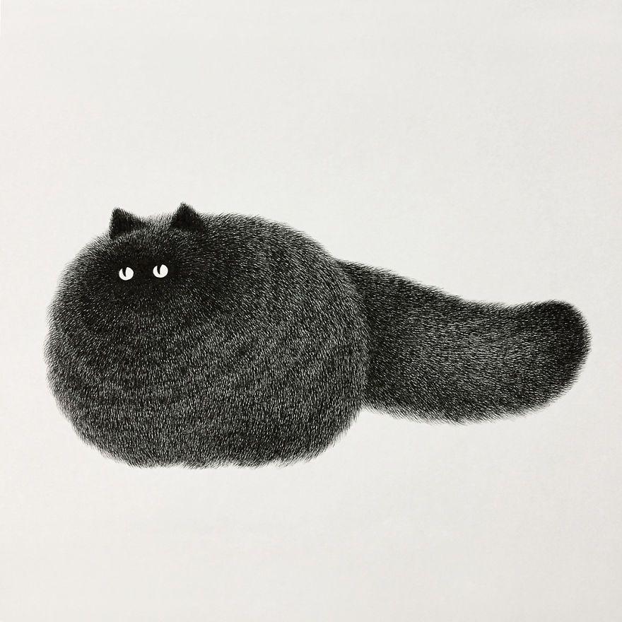 Fluffy Cats! By Malaysian artist Kamwei Fong 고양이 그림, 동물