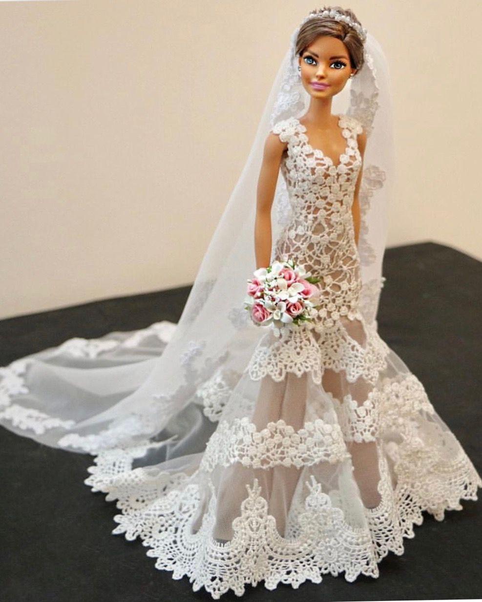Doll wedding dress  sammurakammi  b  Barbie mariée  Pinterest  Dolls Barbie