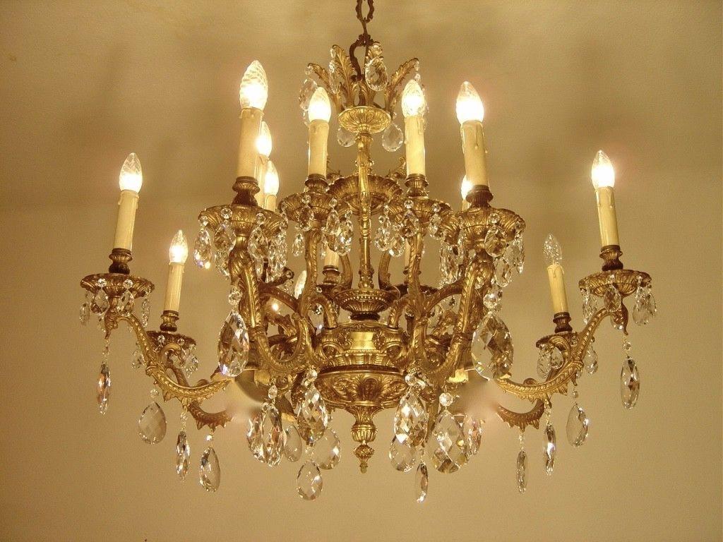 Fantastic 16 Light Heavy Asiatic Brass Chandelier Crystal Bronze