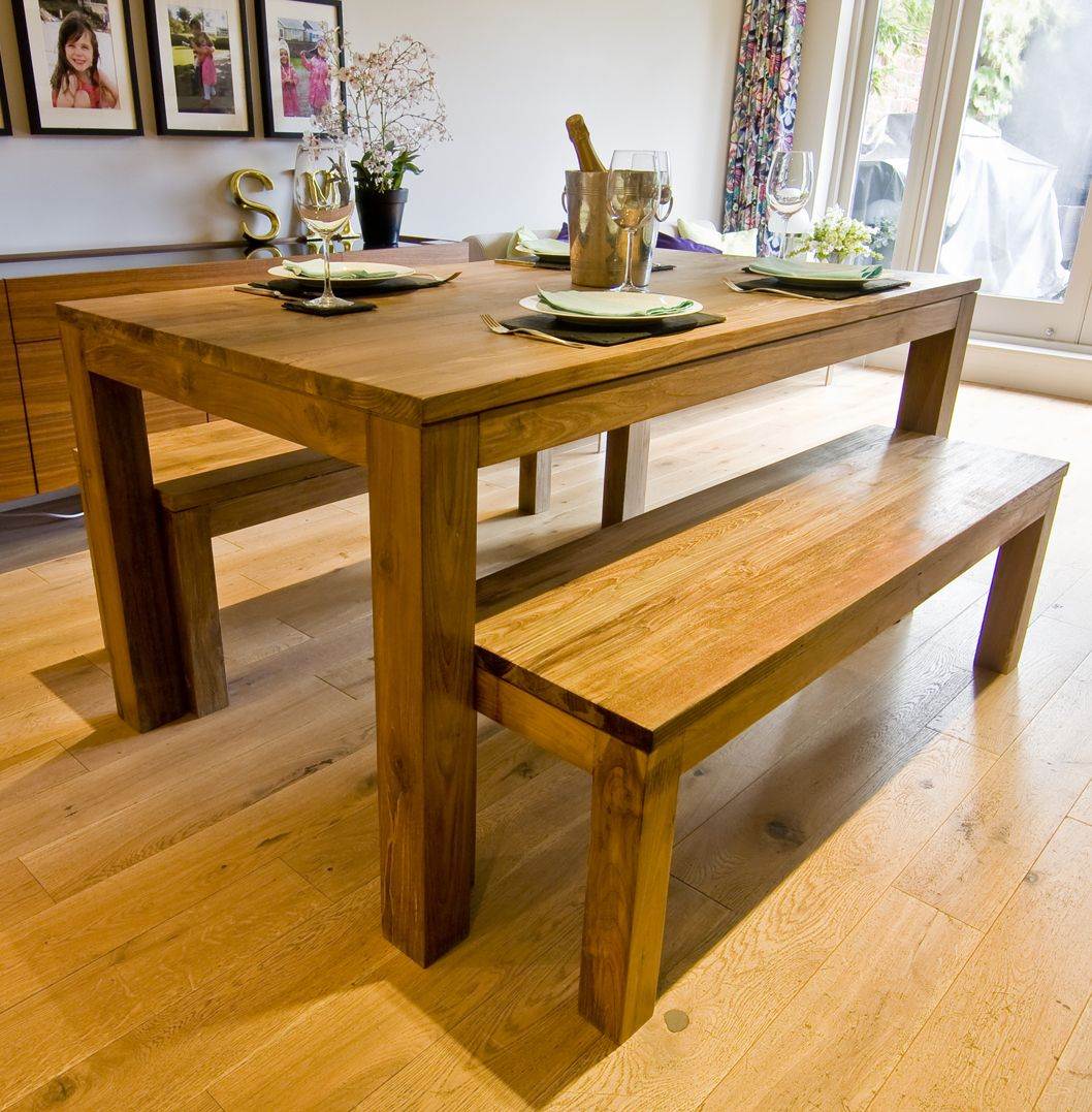 The Karang Dining Set A Beautiful And Unique Solid Wood Table Made From Reclaimed Teak Two Benches