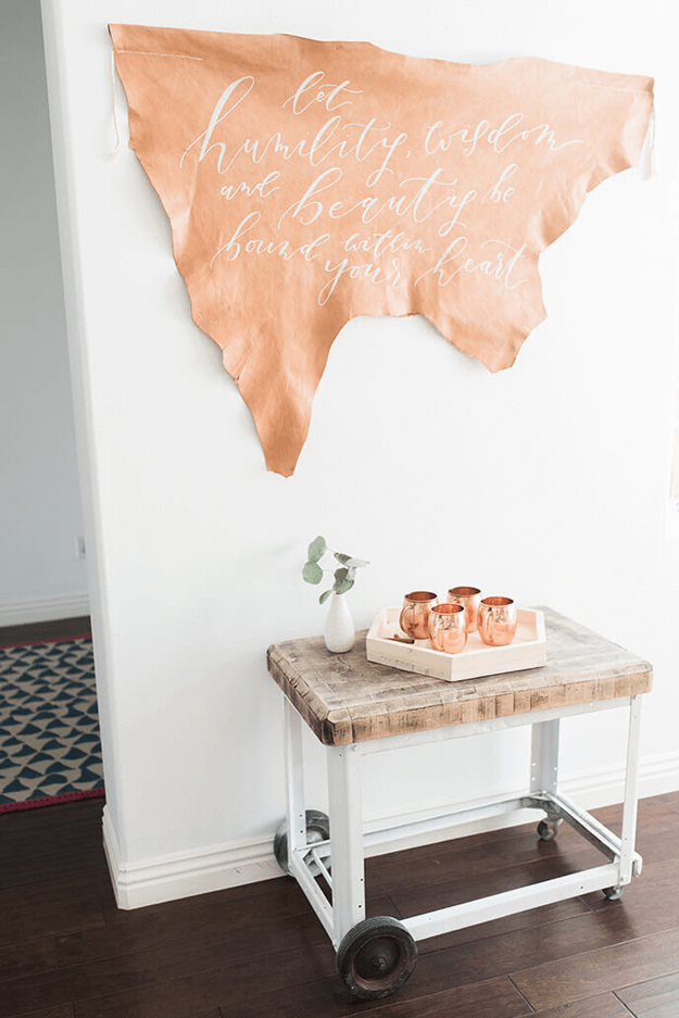 camel brown wall art with white script, pantone butterum, camel brown and white interior, copper mugs, light brown, caramel brown, copper brown, camel brown, copper tan, butterscotch, terra cotta, clay brown, copper