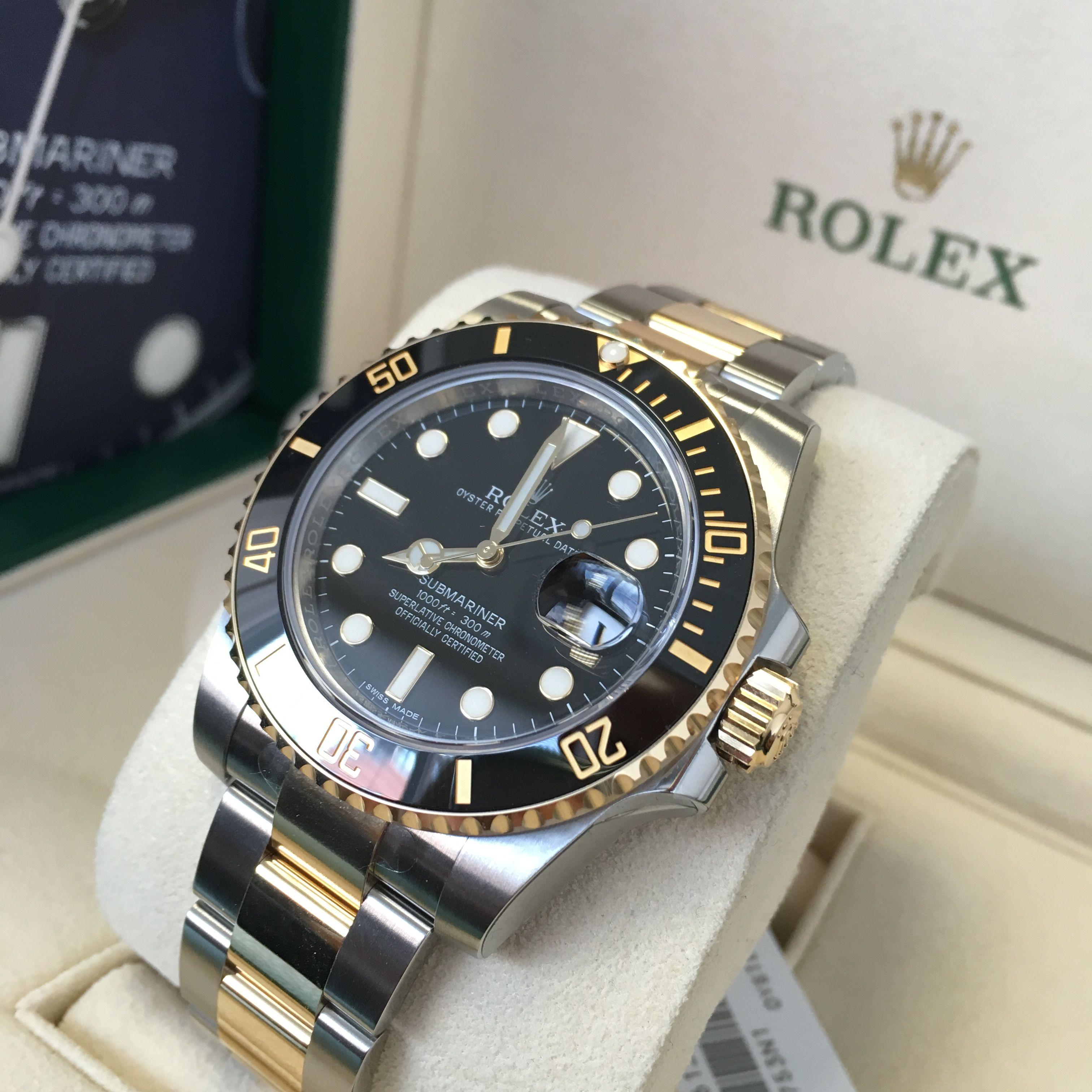 Rolex Submariner Steel & Gold Black 116613LN   men watch ...