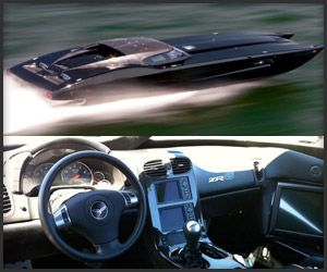 ZR48 Corvette inspired MTI Superboat....1.6 million and includes matching deluxe trailer and Frieghtliner puller.