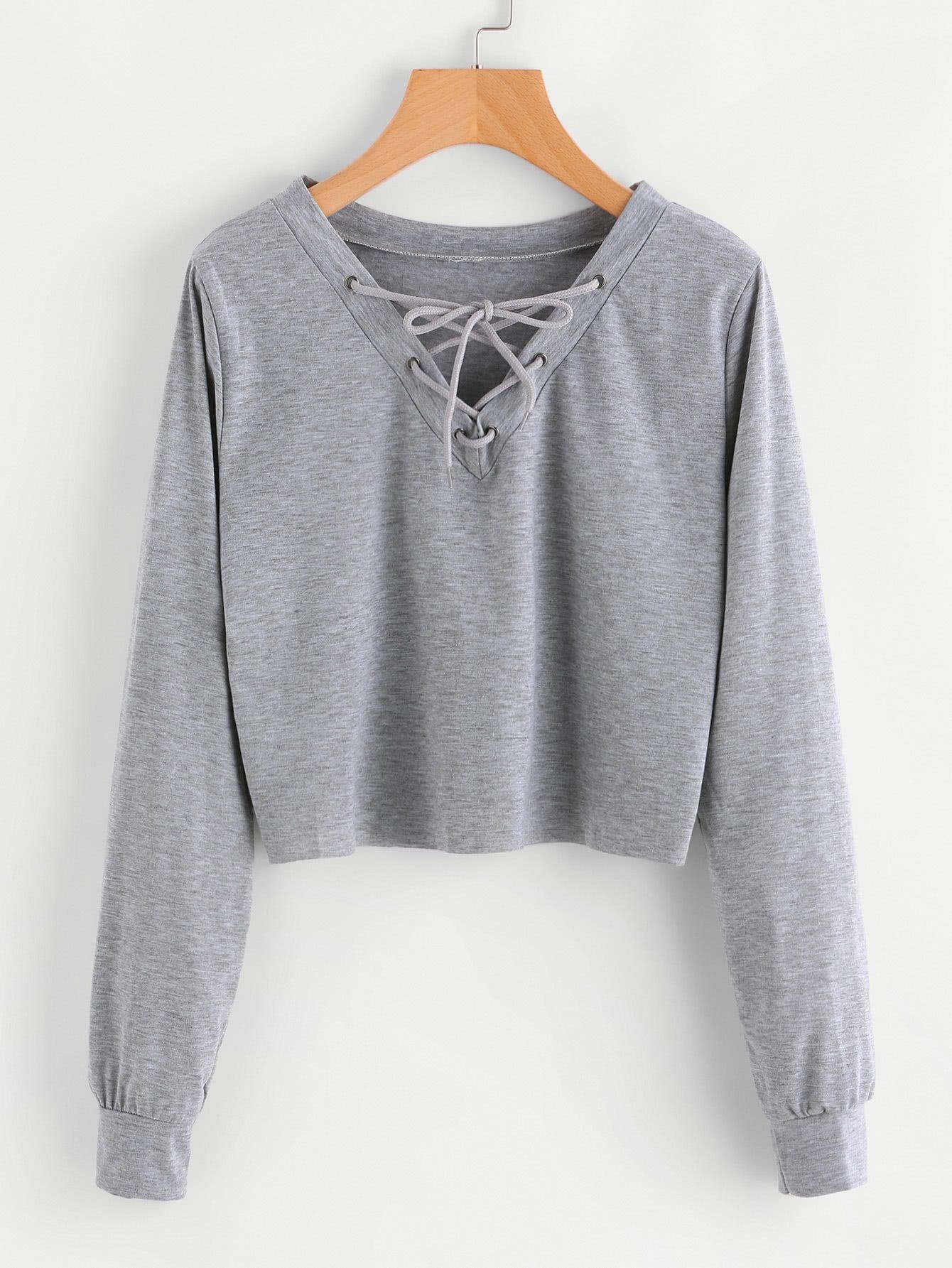 Eyelet Lace Up Sweatshirt  2f58f8c38