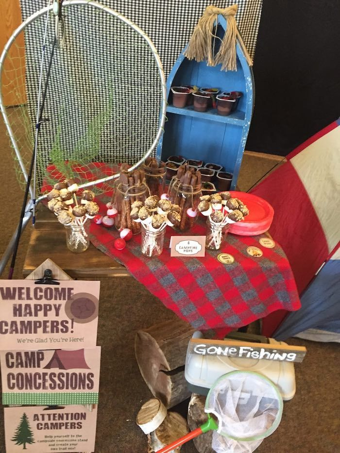 Sweets Decor From A Rustic Camping Birthday Party Via Karas Ideas