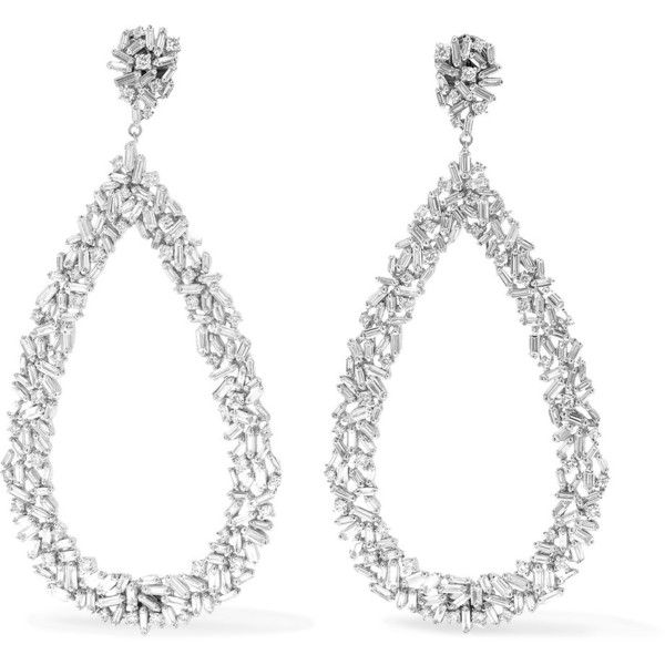 Suzanne Kalan 18-karat White Gold Diamond Hoop Earrings uJLVRft