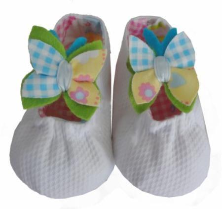 con tela de piqué y adorno mariposa de tela zapatos de bebé tela ...